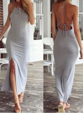 Summer casual backless dresses outfit style 60