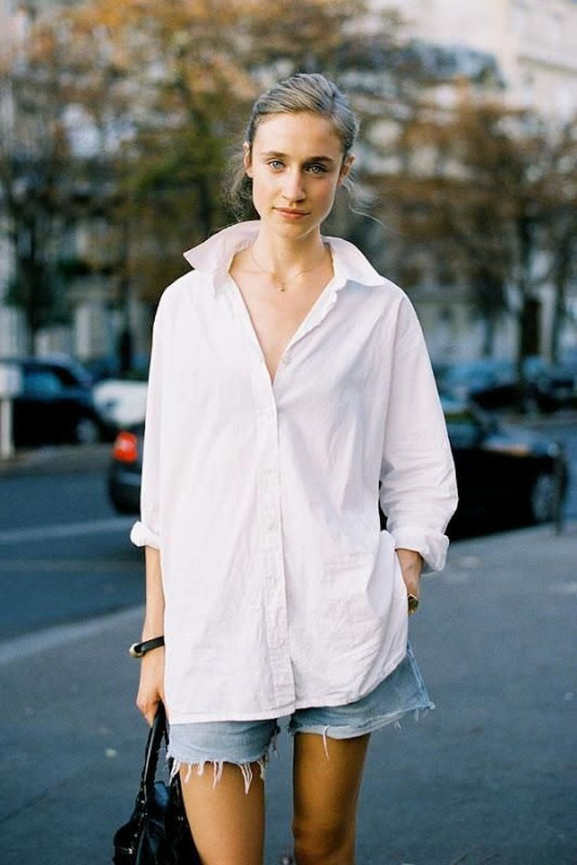 Awesome oversized white shirt outfit style ideas 12