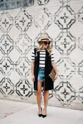 Best high waisted short denim outfits style 13