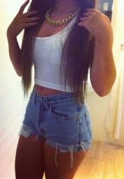 Best high waisted short denim outfits style 14