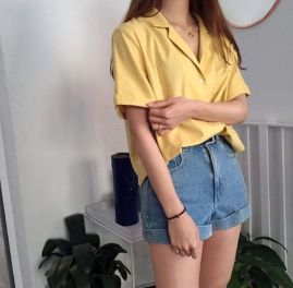 Best high waisted short denim outfits style 18