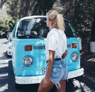 Best high waisted short denim outfits style 2