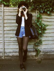 Best high waisted short denim outfits style 23