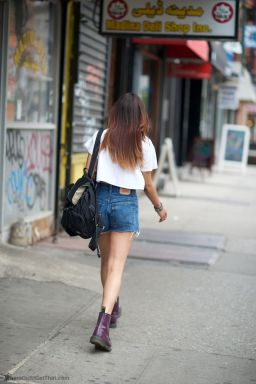 Best high waisted short denim outfits style 26