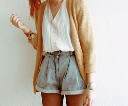 Best high waisted short denim outfits style 47