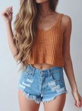Best high waisted short denim outfits style 49