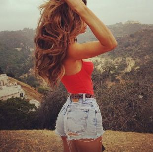 Best high waisted short denim outfits style 52