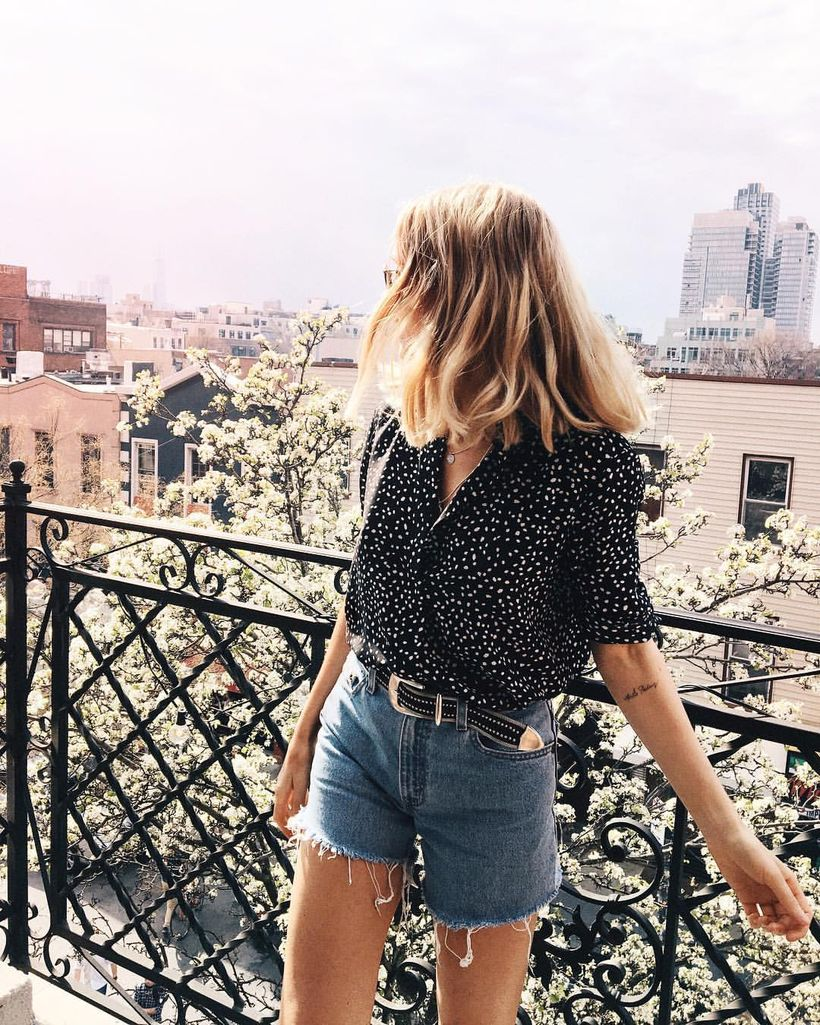 Best high waisted short denim outfits style 6