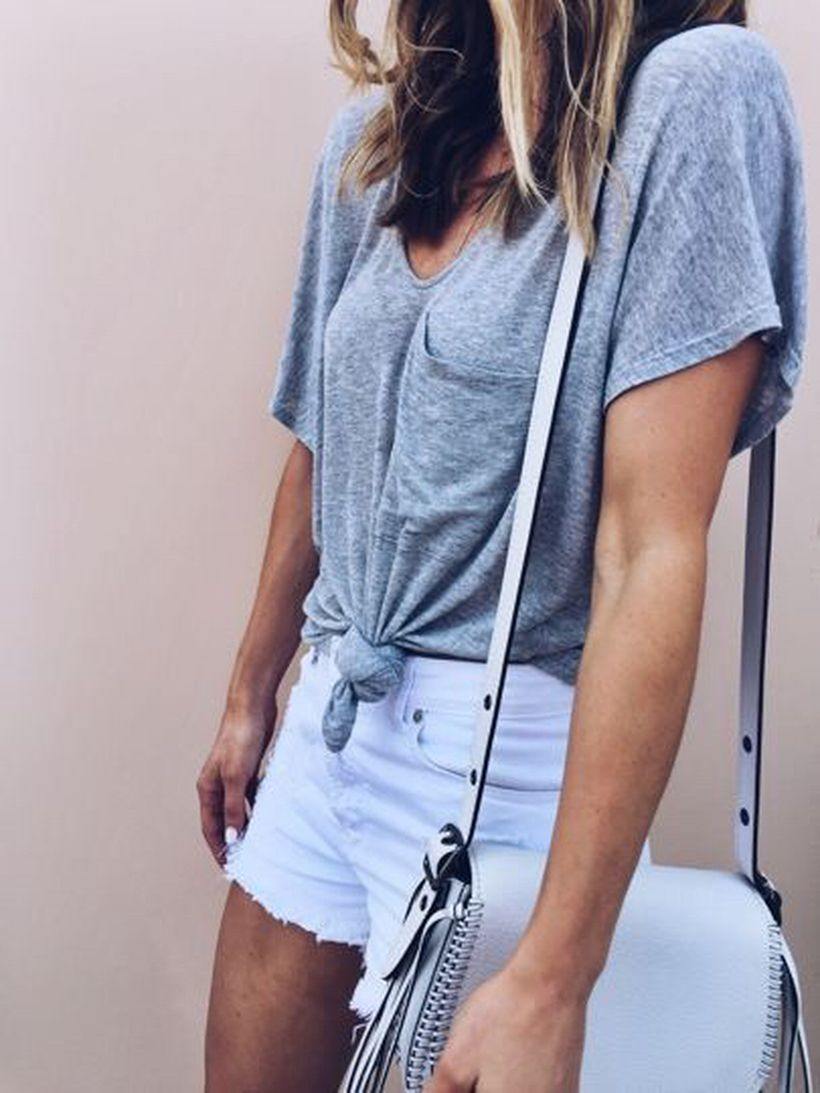 Best high waisted short denim outfits style 66