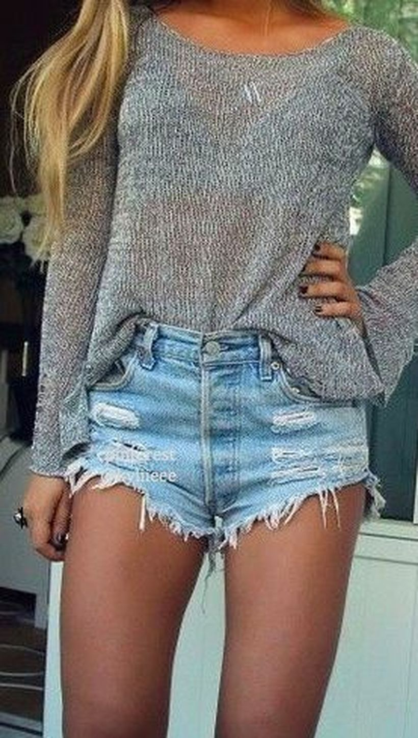 Best high waisted short denim outfits style 9