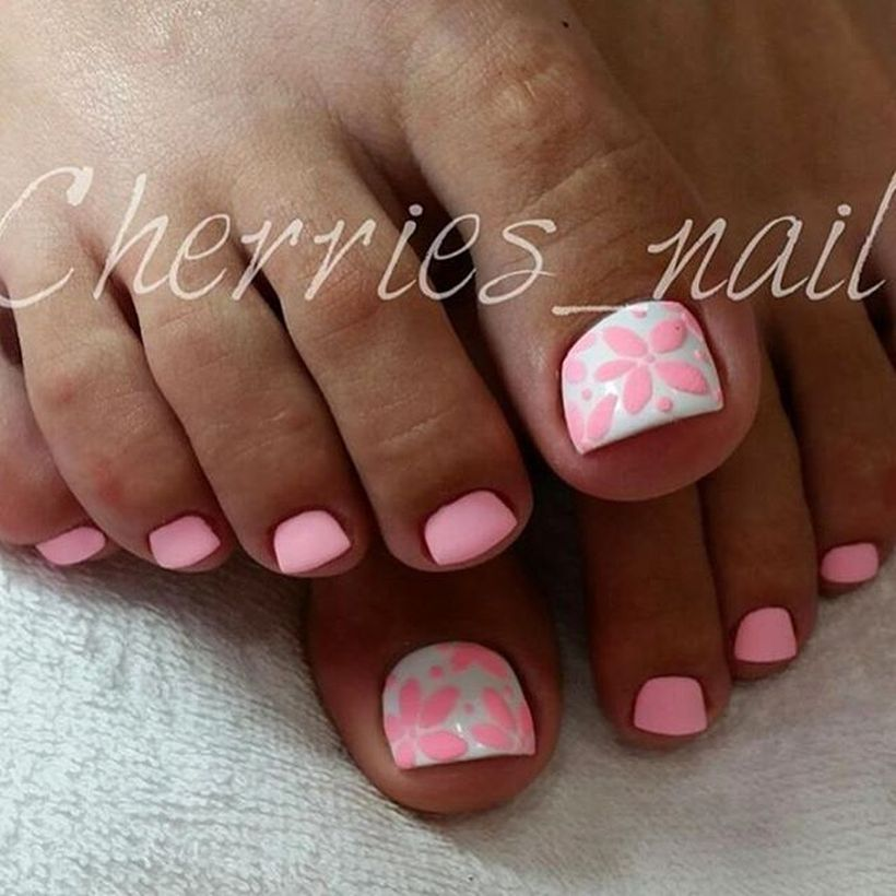 Cool summer pedicure nail art ideas 73