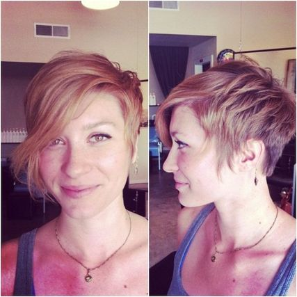 Funky short pixie haircut with long bangs ideas 22