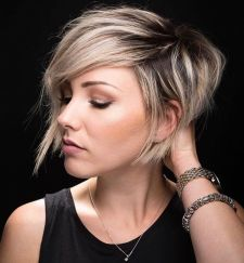 Funky short pixie haircut with long bangs ideas 61