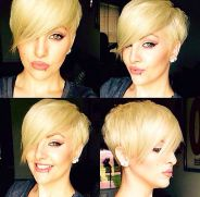 Funky short pixie haircut with long bangs ideas 64