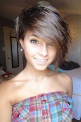 Funky short pixie haircut with long bangs ideas 76