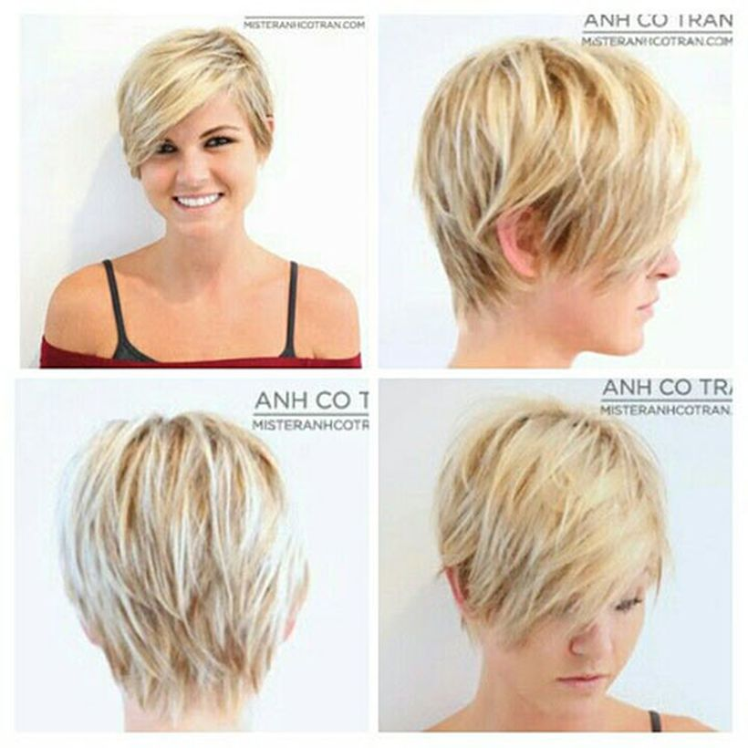 Funky short pixie haircut with long bangs ideas 94
