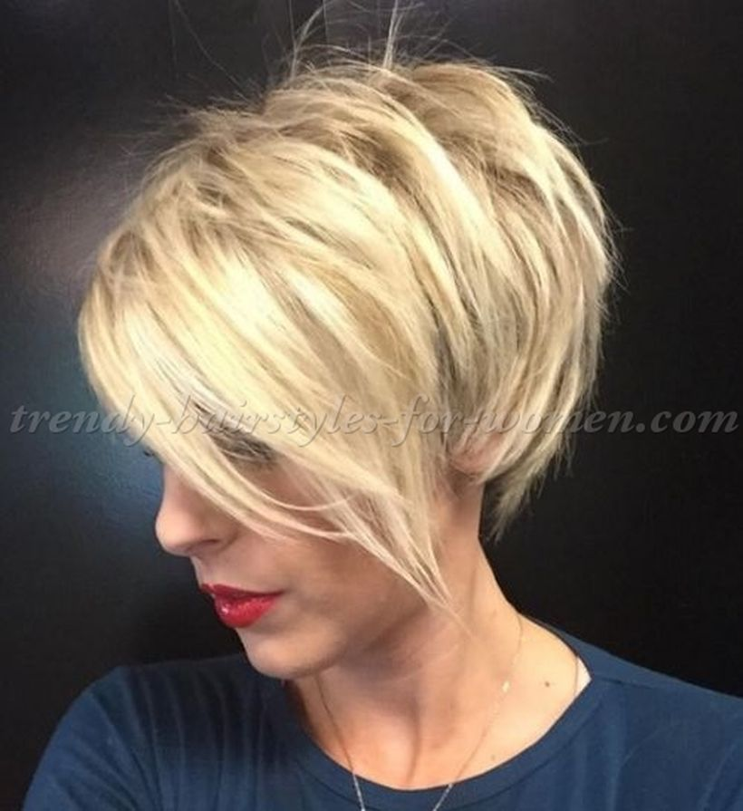 Funky short pixie haircut with long bangs ideas 95