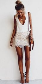 Gorgeous white two piece outfits ideas 36