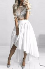 Gorgeous white two piece outfits ideas 48
