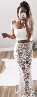 Gorgeous white two piece outfits ideas 61