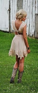 Vintage wedding outfit with country boots 34
