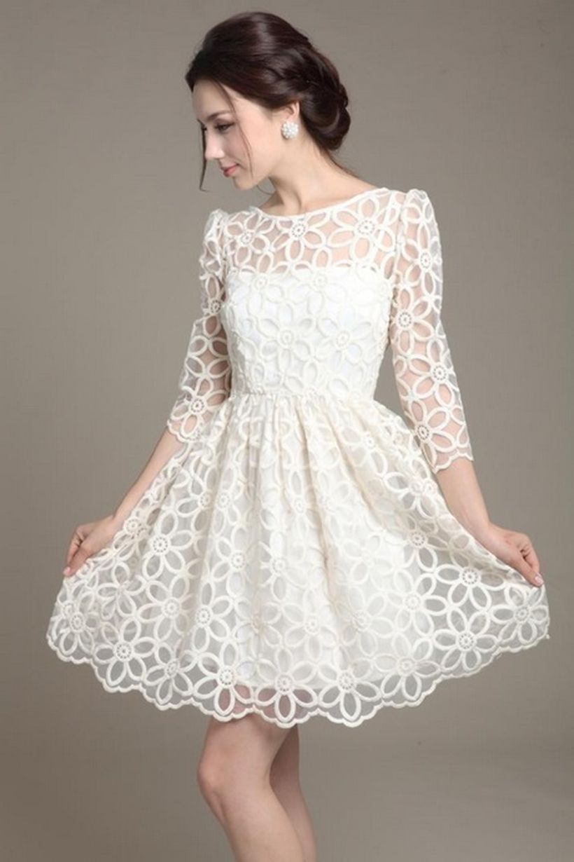 Amazing white short dresses ideas for party outfits 29