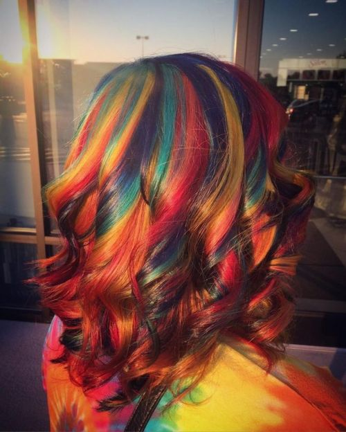 Crazy colorful hair colour ideas for long hair 126