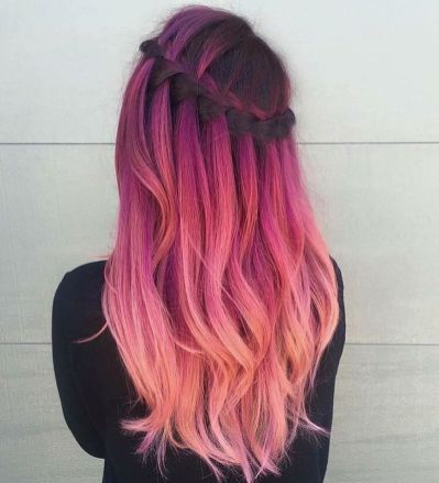 Crazy colorful hair colour ideas for long hair 14