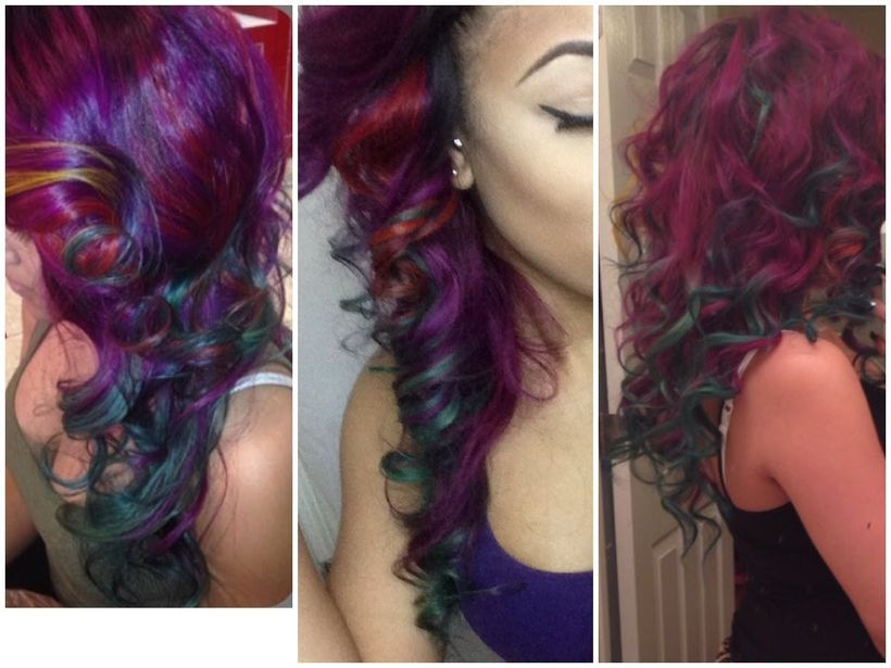 Crazy colorful hair colour ideas for long hair 180