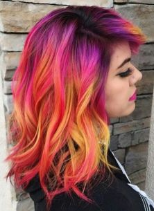 Crazy colorful hair colour ideas for long hair 71
