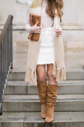 Fashionable white denim skirt outfits ideas 10