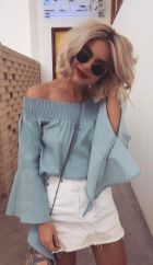 Fashionable white denim skirt outfits ideas 34