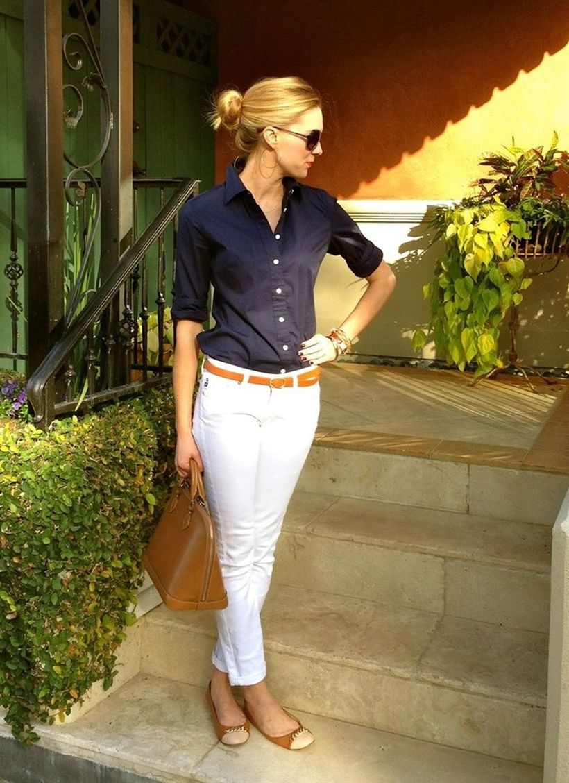 Perfect ways to wear white denim jeans outfits 47