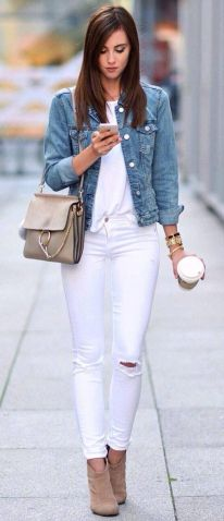 Perfect ways to wear white denim jeans outfits 50