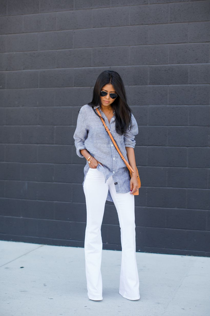 Perfect ways to wear white denim jeans outfits 55