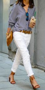 Perfect ways to wear white denim jeans outfits 62