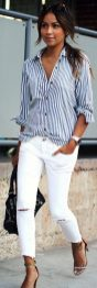 Perfect ways to wear white denim jeans outfits 66