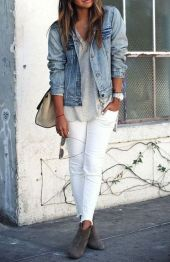 Perfect ways to wear white denim jeans outfits 67