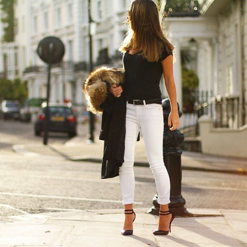 Perfect ways to wear white denim jeans outfits 68