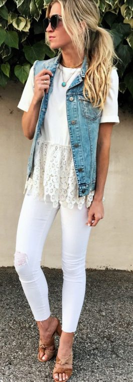 Perfect ways to wear white denim jeans outfits 71