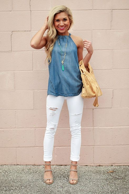 Perfect ways to wear white denim jeans outfits 84