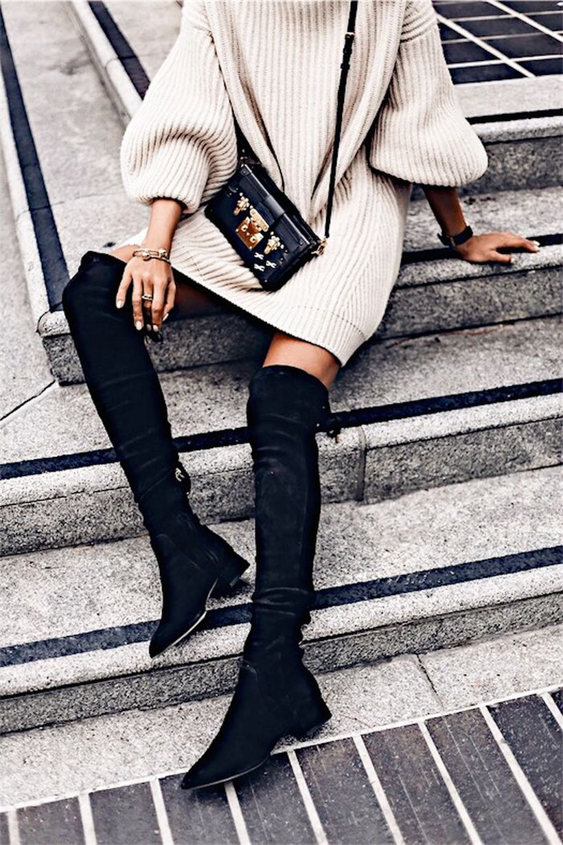 Trendy over the knee boots for winter and fall outfits 13