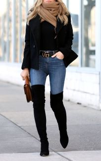 Trendy over the knee boots for winter and fall outfits 23