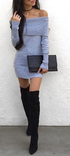 Trendy over the knee boots for winter and fall outfits 25
