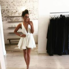 Most cute short white dresses outfits design ideas 12