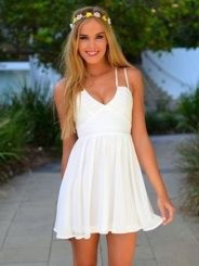 Most cute short white dresses outfits design ideas 19