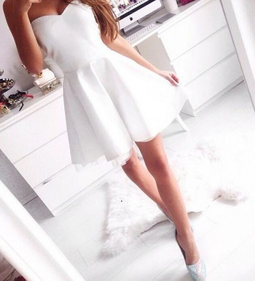 Most cute short white dresses outfits design ideas 20