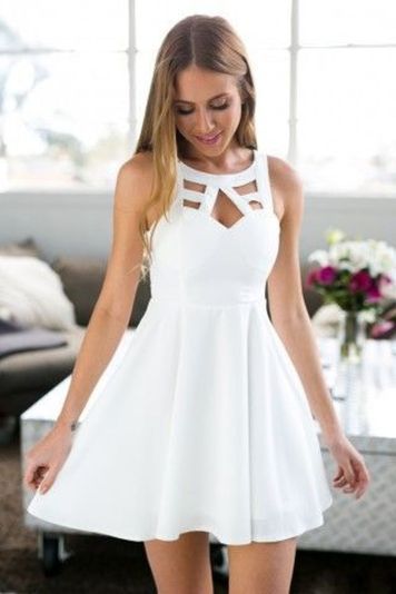 Most cute short white dresses outfits design ideas 37