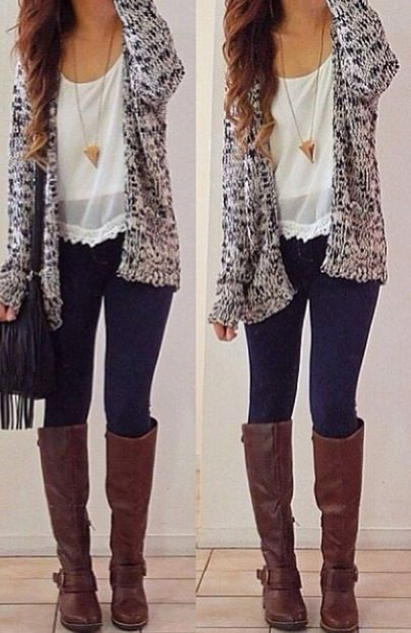 Tips how to wear cardigans and leggings in this fall 104