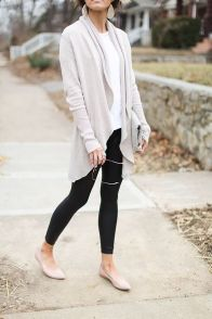 Tips how to wear cardigans and leggings in this fall 62